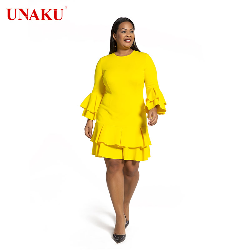 Skin-friendly Stretchy ruffle dress