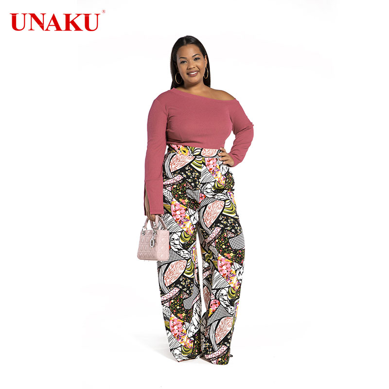 Large printed high waist flared pants