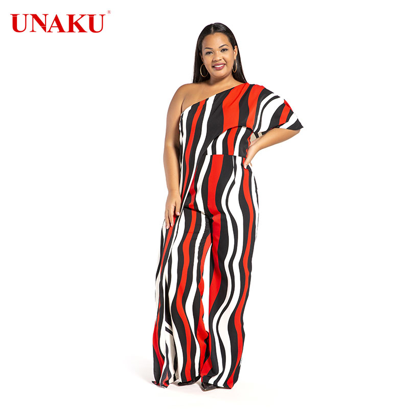 Vertical stripes off-the-shoulder plus size jumpsuit