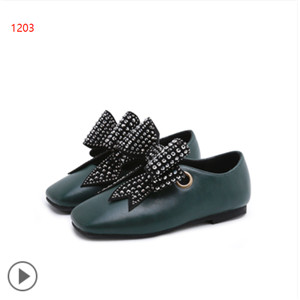 Simple square bow fashion leather shoes