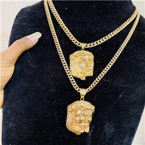 Brazilian gold Cuban link and pendant