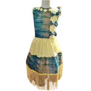 Amra Fringed and ruffled  sleeveless dress with bows