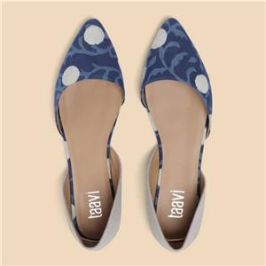 Taavi Women Blue & Grey printed indigo Ballerina