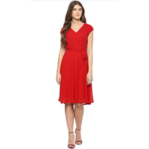 Harpa Women's Georgette Red Dress
