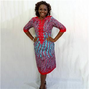 Zemaye blue red stripped African print dress