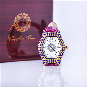 Sapphire Time Studed Leather wristwatch