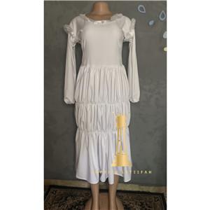 E L midi white dress