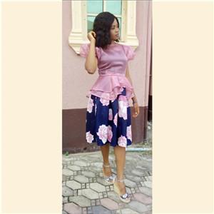 Pleaty high waist skirt and  top