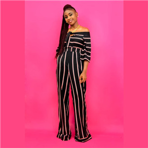 Stripe pegged waist jumpsuit