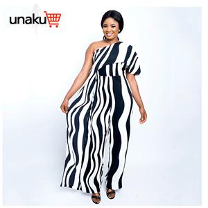 Vertical stripes off-the-shoulder plus size jumpsuit