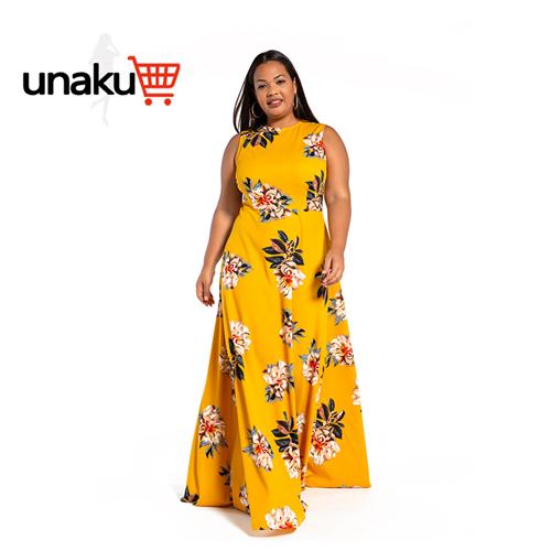 Printed off-the-shoulder waist large bubble dress