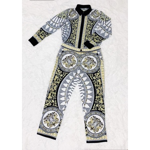 Stylish casual print long-sleeved trouser suit