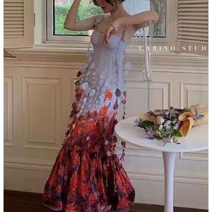 Long printed dress fishtail skirt