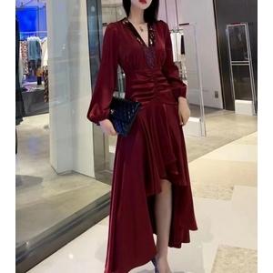 Medium-length solid color irregular sexy V-neck dress