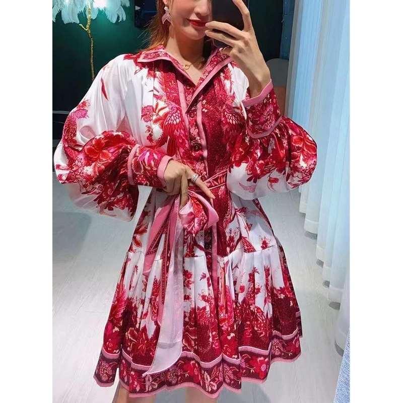 Printed bubble sleeve lotus leaf side skirt shirt dress