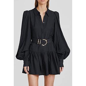 Solid-color bubble sleeve jumpsuit skirt