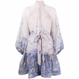 Printed bubble sleeve lotus leaf side skirt dress