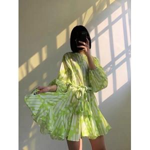 Green fashion printed skirt
