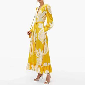 Stylish printed long lotus-leaf dress