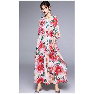 Stylish printed flowing robe dress