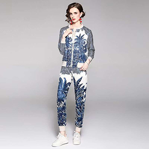 Stylish casual print sports long-sleeved trouser suit