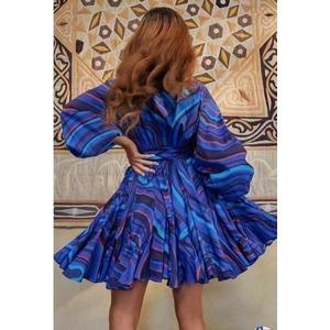 Bubble sleeve print short skirt jumpsuit