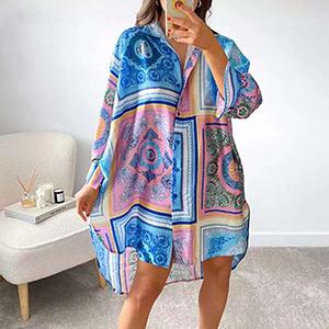 Fashion printed mid-length chiffon shirt