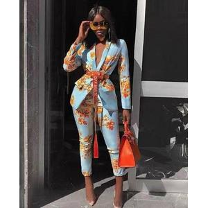 Printed suit trousers professional suit