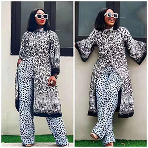 Stylish printed robe trouser suit