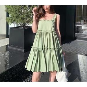 Solid off-the-shoulder A-dress