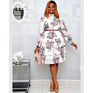 Medium-length elegant print multi-layer dress