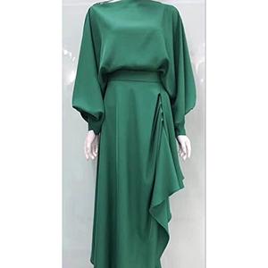 A one-shoulder irregular skirt satin dress