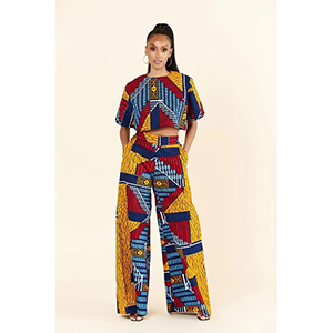 Stylish printed wide-legged trouser suit