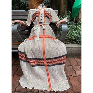 Long stylish print pleated dress