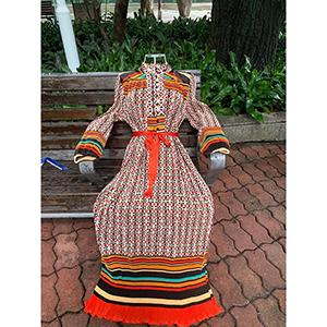 Long fashion print pleated skirt