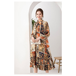 Medium-length stylish print lotus-leaf skirt dress