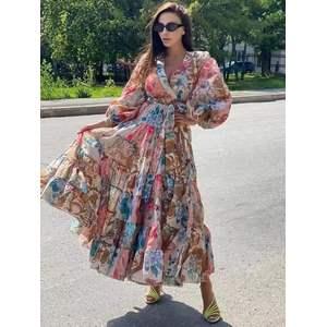 Printed large swing long dress
