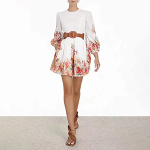 Bubble sleeve embroidered dress skirt