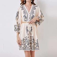 Stylish print bubble sleeve dress