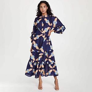 Stylish printed chiffon dress
