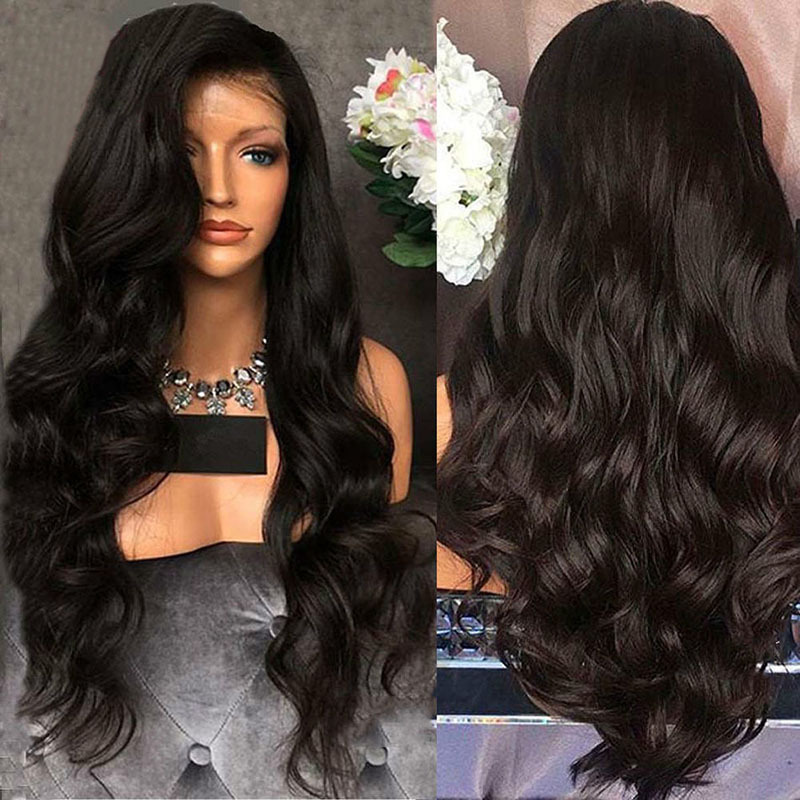 Rose net wig side split black fluffy big wave wig