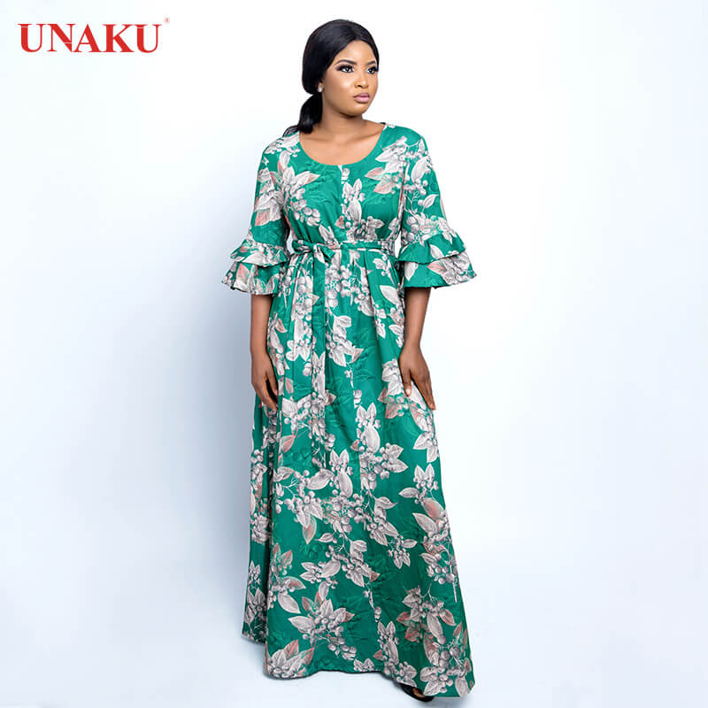 Double-layer trumpet sleeves green gold large flower Gown