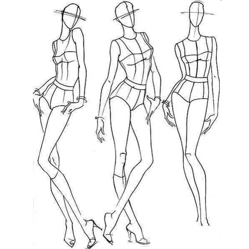 Exploring the human body structure of fashion drawings
