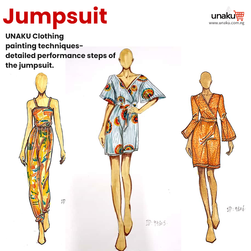 The drawing steps of the jumpsuit
